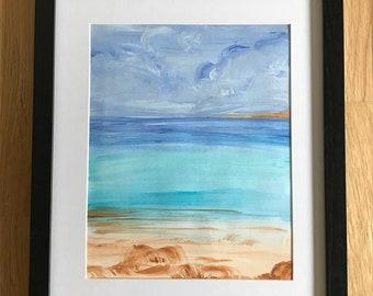 Framed Acrylic painting of Rosemarkie Beach.