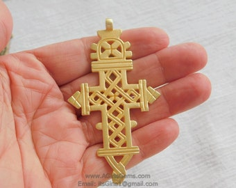 Gold Colored Ethiopian Coptic Cross Jewelry Pendant African Cross Metal Alloy Charm Pendants Religious Jewelry Making Supplies