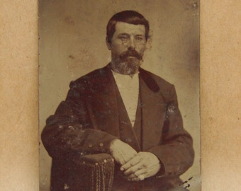 Victorian Tintype Photograph of a Man Antique Vintage