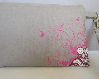 Pink Flourish butterfly wristlet, purse, cellphone case, wallet, clutch, bag