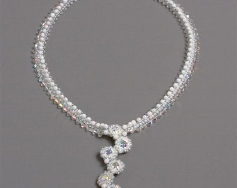 Bridal or Evening White Necklace with Swarovski Crystal Beads and Beaded Stones Pendant. Sparkling Wedding Necklace S263