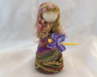 Waldorf inspired needle felted doll,Spring fairy,Hand made