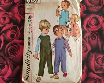 60's Vintage Simplicity Pattern 6157 Size Toddler 4