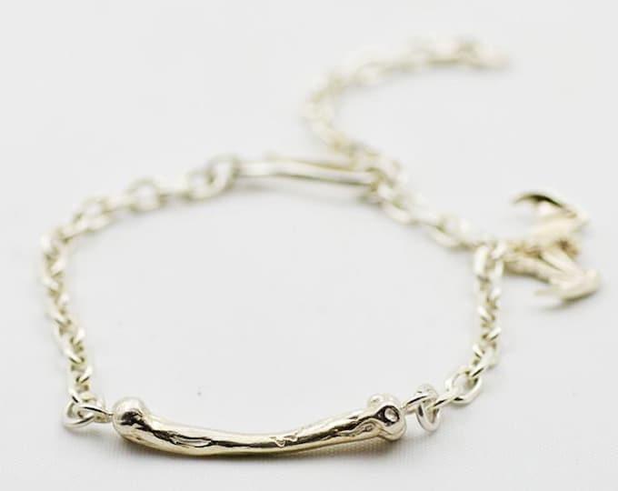 Silver Charm Bracelet | Chain Link Bracelet | Bone Charm Bracelet | Bat Charm | Gothic Bracelet | Silver Chain Link | Fish Hook Charm