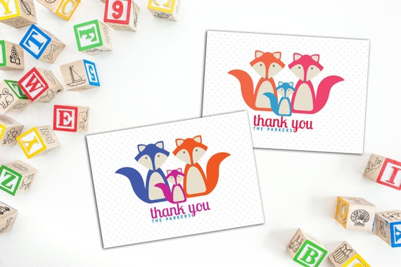 Fox Family Thank You Cards and Envelopes