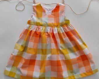 SALE 6-12 Orange Plaid Dress
