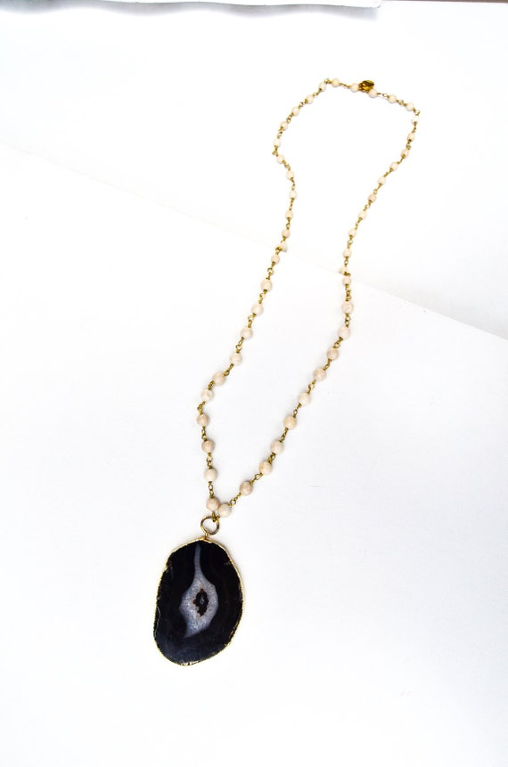 Long black and white beaded stone necklace large agate pendant
