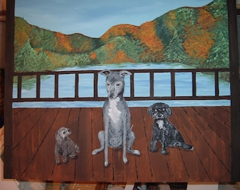 Wood deck planter with dogs