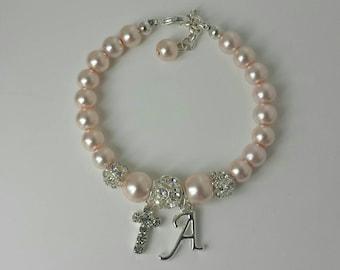 Personalized baby bracelet, baby bracelet, baby jewelry, baptism bracelet, christening bracelet, communion bracelet cross bracelet baptismal