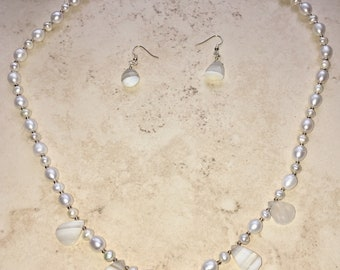 Cultured Pearls And Boulder Opal Necklace | Sterling Silver | Boulder Opal Earrings | June & October Birthstones | Wiccan | Pagan | Healing
