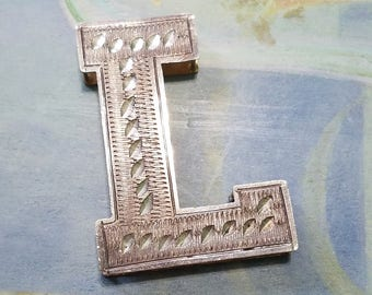 Vintage dual tone diamond cut and etched large letter L pendant