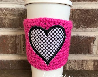 Valentine, travel mug cozy, coffee mug cozy, coffee gifts, coffee lovers gift, valentine gifts, coffee cozy, heart coffee cozy, mug hugs
