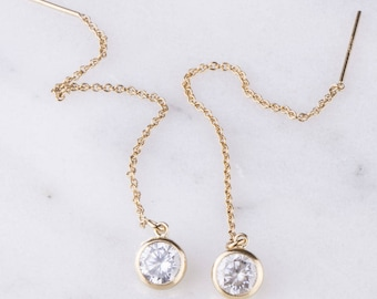 6mm Cubic Zirconia Ear Thread Earrings, Dangling CZ Diamond Ear Threader, Mother's Day Gift, Gift for Her, Cubic Zirconia Dangle Earrings,