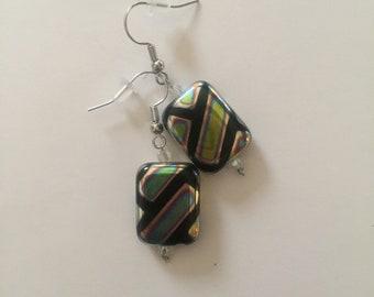 Metallic Rectangle Dangle Earrings