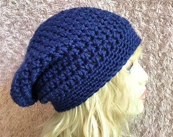 Navy Blue Slouchy Crochet Hat