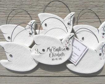 Baptism Favors Set of 10 Salt Dough Dove Wholesale Personalized Ornaments
