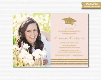 Graduation Photo Invitation Grad Invitation Graduation Invite Blush Pink Gold Glitter Graduation Dinner Announcement Digital Printable Grad