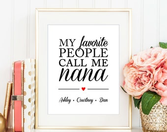 My Favorite People Call Me Nana with Names of Grandchildren, Personalized Gift For Grandma, Nana, Grandmother, From Kids - (D246)