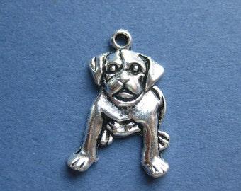 10 Dog Charms - Dog Pendant - Animal Charm - Animal Pendant - Antique Silver - 26mm x 18mm -- (No.33-10477)
