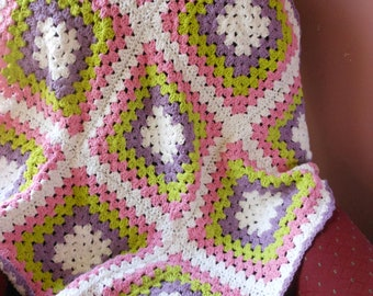 crochet blanket for little girls, cotton afghan for baby's room, new baby shower gift, present for new mom, granny square throw and bedding