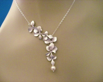 Bridesmaid Jewelry Heather Bridal Silver Orchid Wedding Necklace