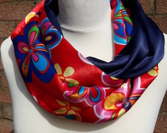 Loop scarf floral satin fabric infinity scarf circular scarf unique gift