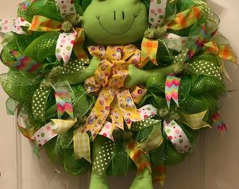 Springtime wreath, Spring frog wreath, Frog wreath, Frog decor