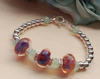 Artisan Lampwork Swarovski Crystal Bracelet