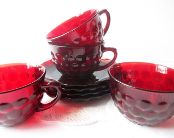 Vintage Teacups and Saucers Bubble Red Anchor Hocking Set of Four