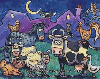 Farm Animal Cross Stitch Kit, Dorian Spencer Davies Art, Counted Cross Stitch Kit, 'Farm Yard Family', Modern animal needlecraft