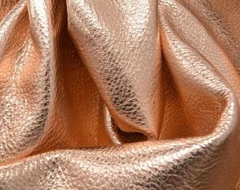 "14K Rose Gold Metallic ""Vegas"" Leather Cow Hide 8"" x 10"" Pre-cut 3 ounces grainy TA-26149 (Sec. 8,Shelf 4,A)"