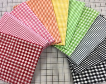 "8 Yards GINGHAM CHECK Fabric Remnant Lot 1/8"" & 1/4"" High Quality Pink Green Orange Yellow Red Black 100% Yarn-dyed Cotton FREE Shipping Usa"