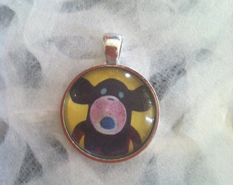 Brown Sock Monkey Art Jewelry - Real Glass - 1 Inch Circle Bezel Pendant - Brownie - Cute Brown Sock Monkey - Jewelry
