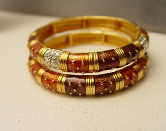 2 Joan Rivers Stretch Bracelets - Gold Tone with Enameling and Crystals - S3008