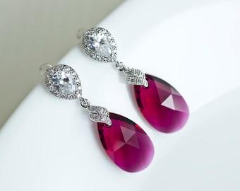 Ruby Earrings, Fuchsia Bridesmaids Earrings, Ruby Swarovski Teardrop Earrings, Dangle Bridesmaids Earrings,  Swarovski Crystal Ruby Earrings