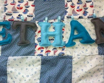 Felt letters bunting name garland, boys Christening Gift, Personalised name banner , Newborn Gift