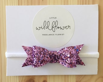 Purple Glitter Bow Band