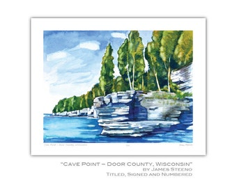 Cave Point County Park– Sturgeon Bay, Door County, Wisconsin Watercolor Art Print by James Steeno (Rock Formation)