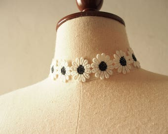 Black Lace Choker Necklace Black Floral Choker Sunflower Daisy Choker Necklace Wednesday Adams Boho Bohemian Gypsy Hipster Style