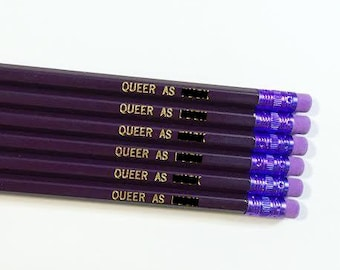 Queer as F*ck Pencil Set - 6 Purple and Gold LGBT Pencils