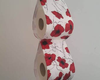 The decorative toilet paper holder storage for 2 rolls - white with red poppies