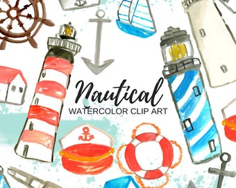 Nautical Clip Art - Watercolor clip art - Sailor Clip Art - Sea life Clip Art -  Commercial use