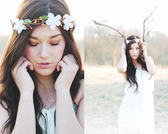 bridal headpiece, rustic wedding flower, bridal hair crown, woodland wedding, flower crown for hair