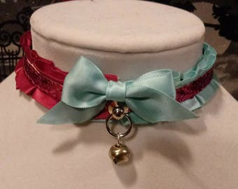 Pink and Blue Harlequin Collar