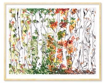 Forest Art Dorm, Birch Tree Gift Her, Birch Tree Print, Landscape, Woodland Art, Four Seasons, Nature Lover Art Print, 8.5x11, 11x14