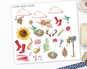Planner Stickers Watercolor Spring Variety for Erin Condren, Happy Planner, Filofax, Scrapbooking