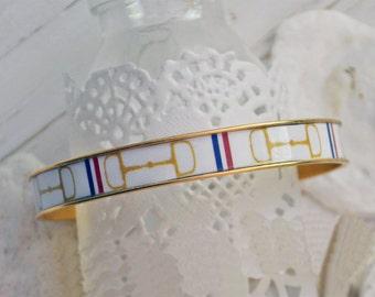 Snaffle Bit Bracelet, Equestrian Jewelry, Equestrian Bracelet, Equestrian Bangle, Horse Bit Bracelet, Bangle Bracelet  - Gold Horsebit