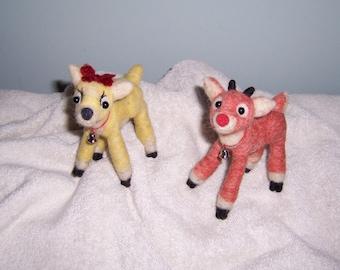Needle felted wool animal Christmas deer set