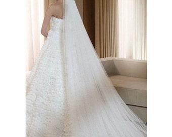 3 Meters Long Bridal Veil White Long Veil Bridal Wedding Veil Two Layer White Veil White Bridal Veil Wedding Accessories Comb Veil White