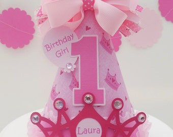 Lil' Pink  Princess - Pink Princess Crown Birthday Party Hat - Personalized